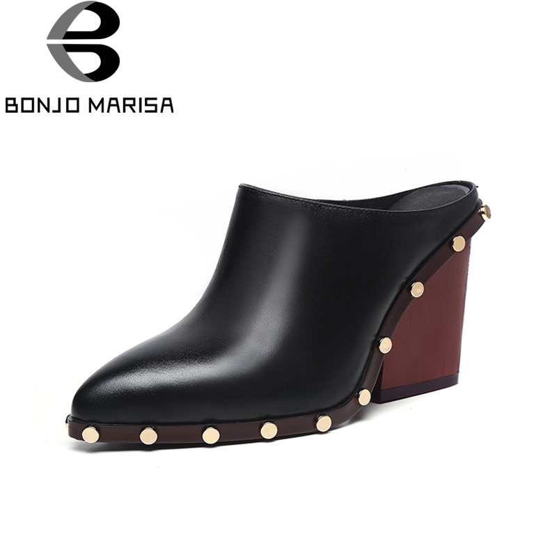 BONJOMARISA 2018 Genuine Leather Slip On Square High Heels Women Pumps Large Size 34-39 Shoes Woman Casual Mules Pumps Shoes bonjomarisa 2018 genuine leather chunky low heels peep toe slip on women shoes woman casual mules shoes pumps big size 34 39