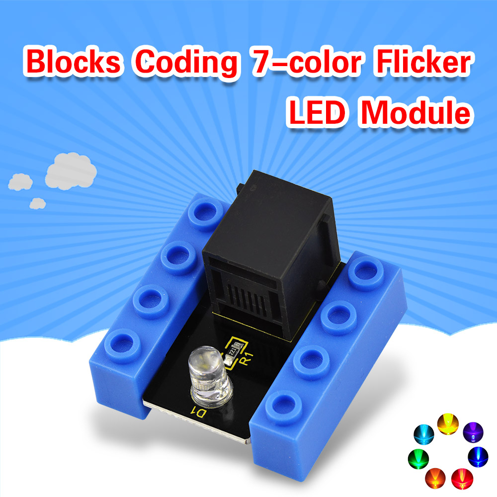 Kidsbits Blocks Coding 7 Color Flicker LED Module For Arduino STEAM EDU (Black And Eco Friendly)