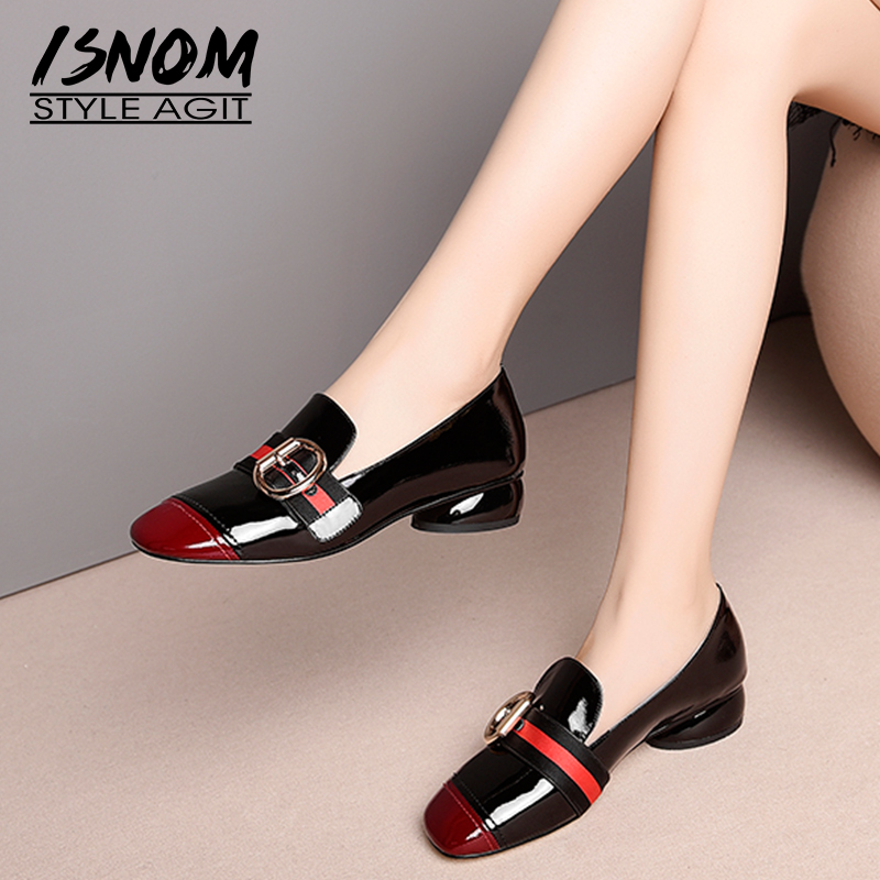 ISNOM Patent Leather Pumps Black Red Square Toe Footwear Unusual Low Heels Chunky Female Shoes Fashion