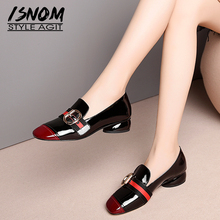 Patent Leather Square Toe Stitching Shoes