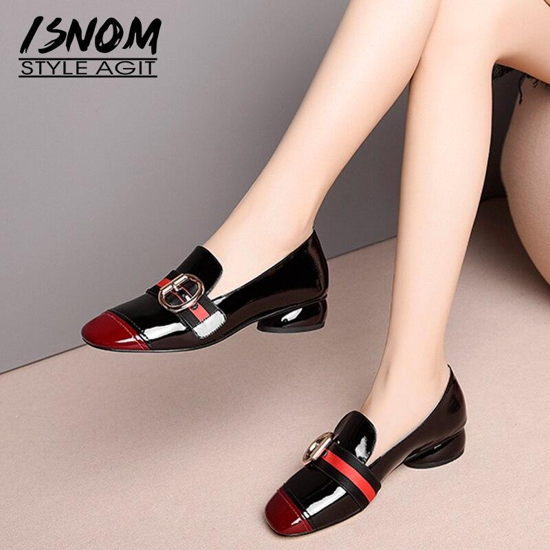 Isnom 특허 가죽 펌프 블랙 레드 스퀘어 발가락 신발 비정상적인 낮은 발 뒤꿈치 chunky 여성 신발 패션 캐주얼 신발 여성 2020-에서여성용 펌프부터 신발 의  그룹 1