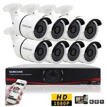 SUNCHAN 8CH CCTV Sistema HD 1080 P DVR 8 UNIDS 1080 P 3000TVL Al Aire Libre Video Vigilancia Sistema de Cámaras de Seguridad 8 Kit DVR canal