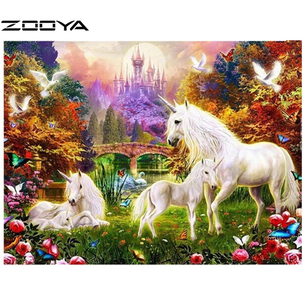 ZOOYA 3d Diy Diamond Painting Rhinestones Set Embroidery Resin Craft Horse Unicorn Families Myth Magic Auspicious AT354