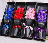 11 יח'\קופסא 1 תיבת עלה פרח סבון DIY פסטיבל זר Valentine's Day יצירתי קופסא מתנה אמבטיה רומנטי יום הולדת לחברה Gif