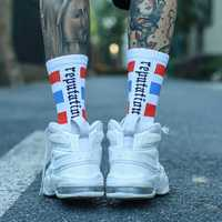 IMINCN 1Pair Original Design reputation INS Young People Hiphop made in china Cotton Dance Street High Fashion Black White Sock