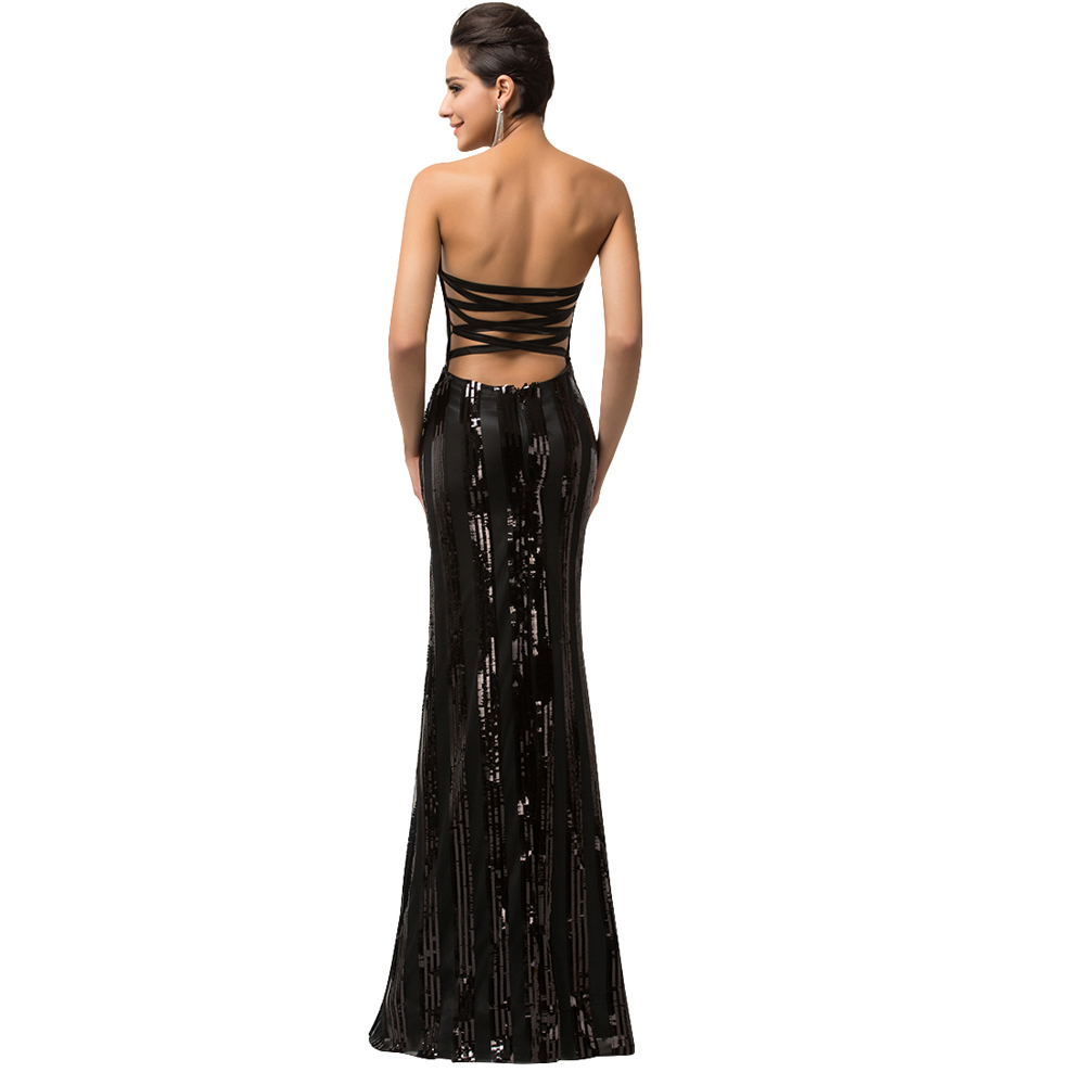 Sparkle Luxury Evening Gown Strapless Floor Length Long Black ...