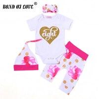 Cute Baby Boy Girls Clothes Set Newborn Infant Baby Cotton Letter Bodysuit Romper Pant Headband Hat