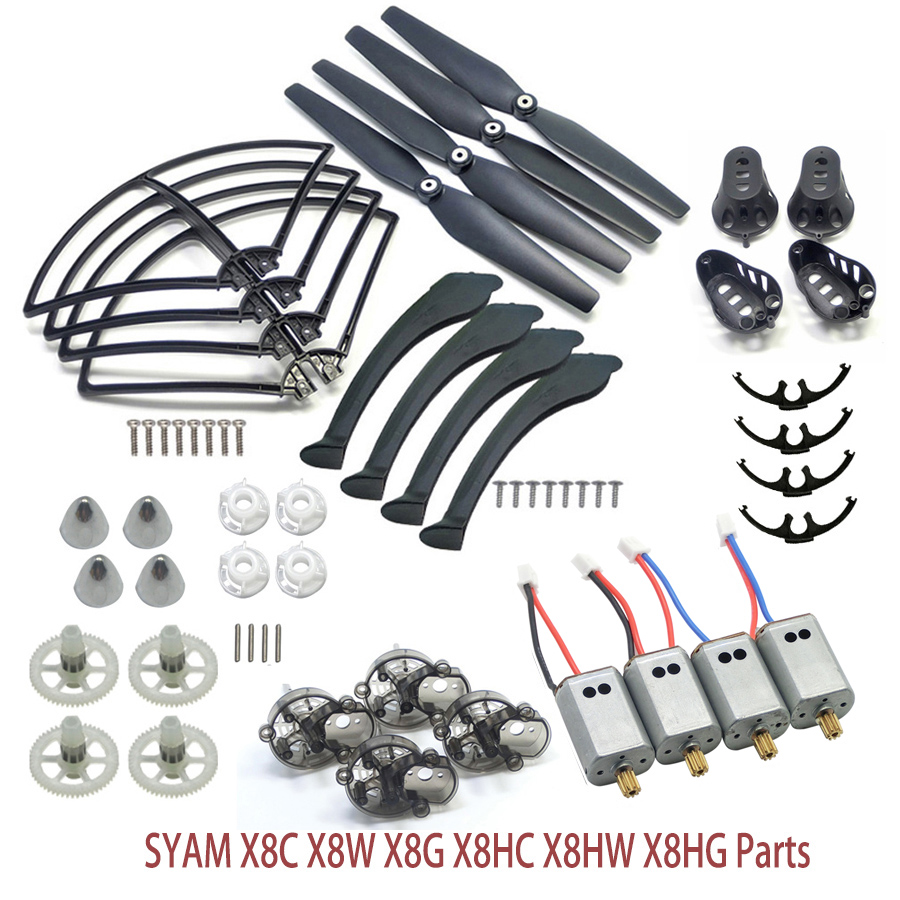 Full Set SYMA X8 Series Spare Parts Fit for X8C X8W X8G X8HC X8HW X8HG Propeller Gear Motor Frame Landing Gear Motor Cover ect. propeller protective guard landing skid for x8c x8w x8g x8hg white