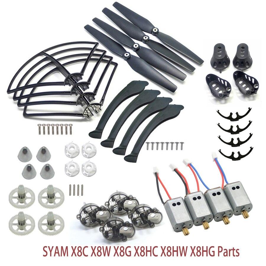 Vollen Satz SYMA X8 Serie Ersatzteile Fit für X8C X8W X8G X8HC X8HW X8HG Propeller Getriebemotor Rahmen Fahrwerk Motor Abdeckung ect.