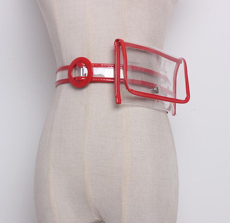 Women's Runway Fashion Transparent PVC Cummerbunds Female Dress Corsets Waistband Belts Decoration Wide Belt R1627