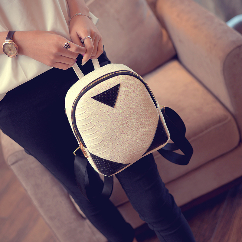 100pcs/lot Concise Serpentine Women Mini Backpack For Girls Female Ladies Bag Cute Casual Zipper School Bags Back Pack