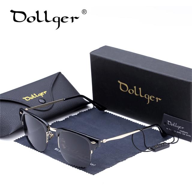 Dollger Classic Retro hombres Square Gafas de Sol Hombres Mujeres Diseñador de la Marca Media Luz de Metal Gafas de Sol gafas De Sol Oculos D18
