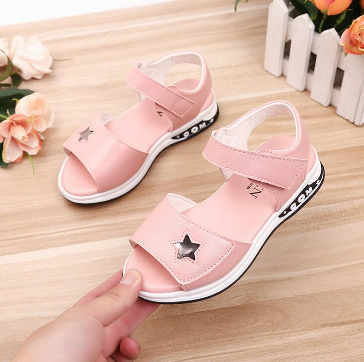 Pu Leather Girls Sandals New Summer Princess Sandals With Star Children Anti-skid Beach Shoes For Girl Size 27-36Pu Leather Girls Sandals New Summer Princess Sandals With Star Children Anti-skid Beach Shoes For Girl Size 27-36