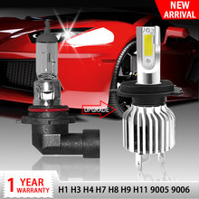 Racbox Car Headlight Bulb LED H7 H1 H3 H4 H11 H8 Hb4 Hb3 9005 9006 H27 880 Mini Auto Turbo Super Lamp 3000K 6000K 10000K Refit(China)