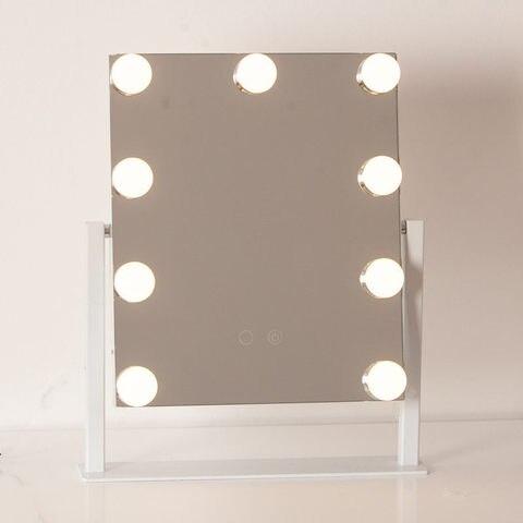 Estilo hollywood frameless iluminado espelho de maquiagem com luzes e 10xmagnification touch screen led espelhos