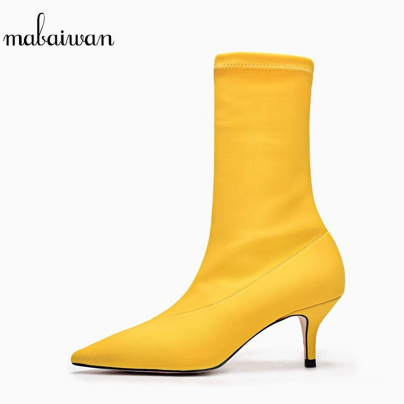 Mabaiwan 2018 Fashion Women Shoes Thin High Heels Spring Ankle Boots Stretch Fabric Pumps Mujer Slip On Shoes Women Sock Boots fonirra women stretch knit ankle boots fabric shoes striped heel socks boots round toe women slip on high heels female boots 682