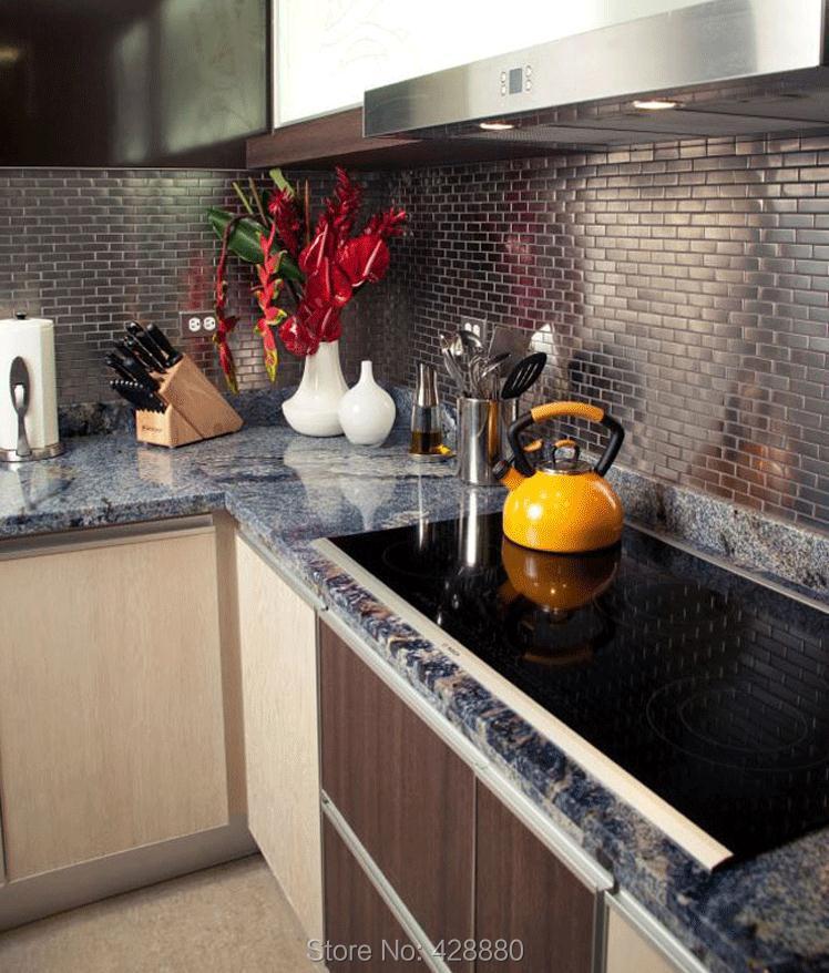 Metallic Mosaic Subway Tile Grey Metal Kitchen Wall Tiles HC1 Stainless  Steel Backsplash Porcelain Base Bathroom Tile Shower On Aliexpress.com |  Alibaba ...