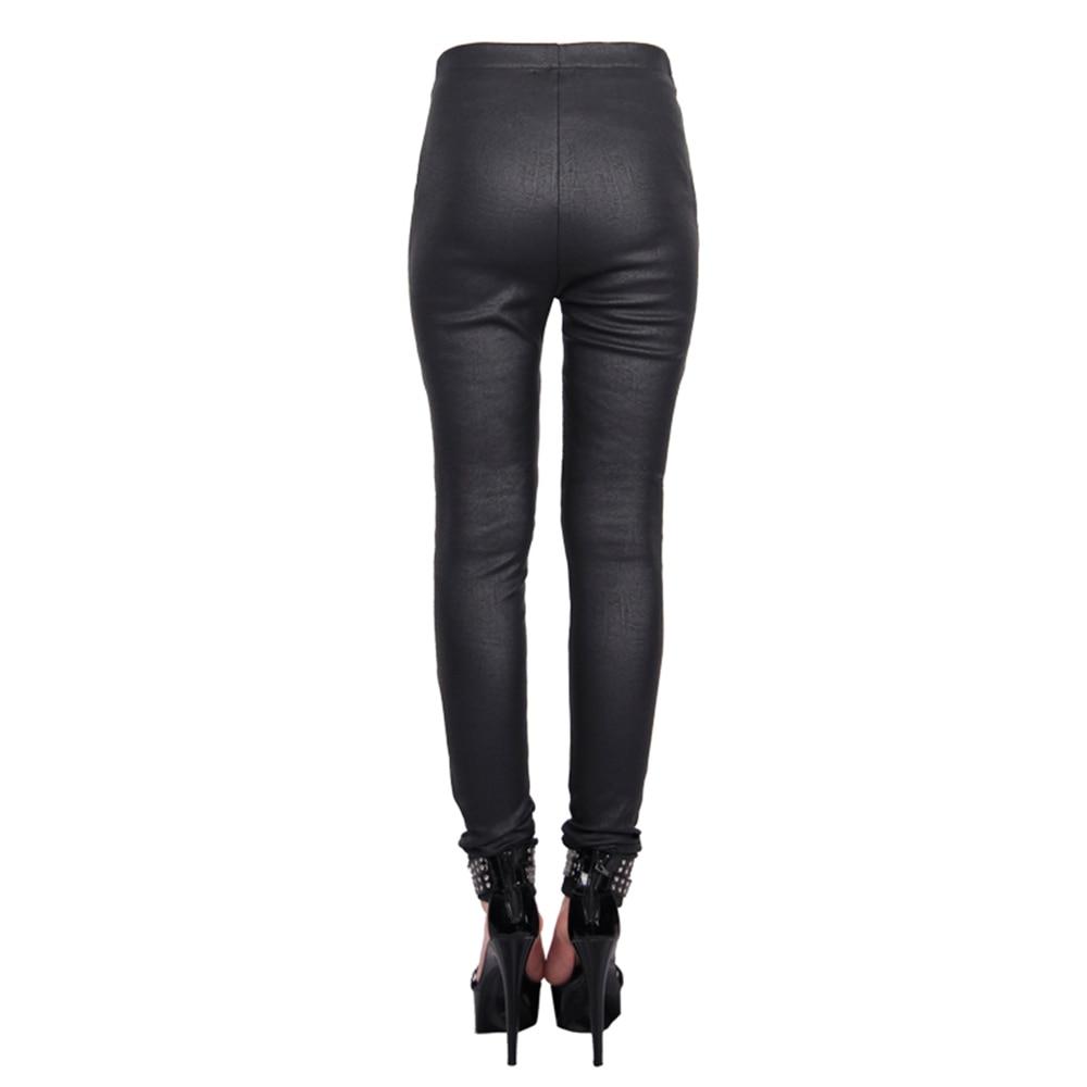 PUNK RAVE Frauen Hosen Punk Mode Persönlichkeit Pu Leder Schwarz Leggings Sexy Hip Hop Streetwear Skinny Hosen - 6