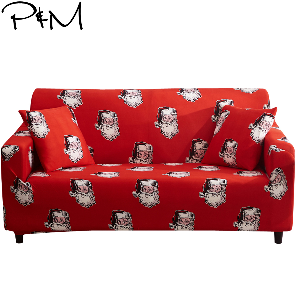 P&M Color Santa Claus Print Stretch Sofa cover Elastic