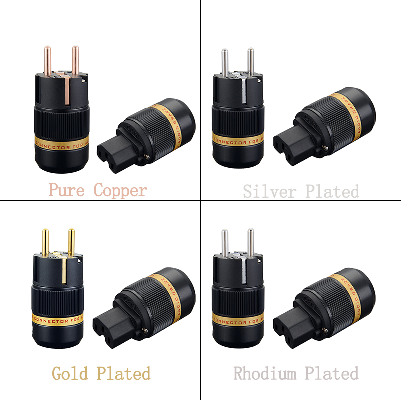 Viborg Hi End Audio Schuko Plug Pure Copper Silver/Gold/Rhodium Plated Available VE501 VF501 Hifi EUR Power Plug IEC Connectors free shipping one pair oyaide rhodium plated c 037 iec plug p 037e schuko power plug eur power plug