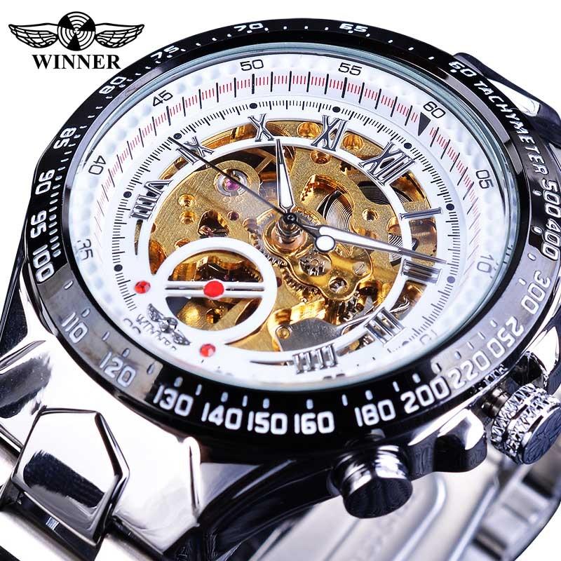 Winner Classic Series Golden Movement Steel Mens Skeleton Man Wrist Watch Mechanical Top Brand Luxury Fashion Automatic Watches