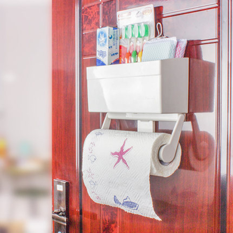 High Quality toilet paper holder refrigerator storage box plastic wrap roll holder wall shelf kitchen bathroom accessories