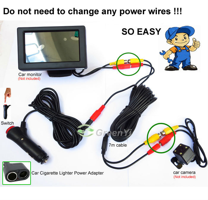 Easy Install 7 Meters Rca Video Power Cable For Rear View Camera