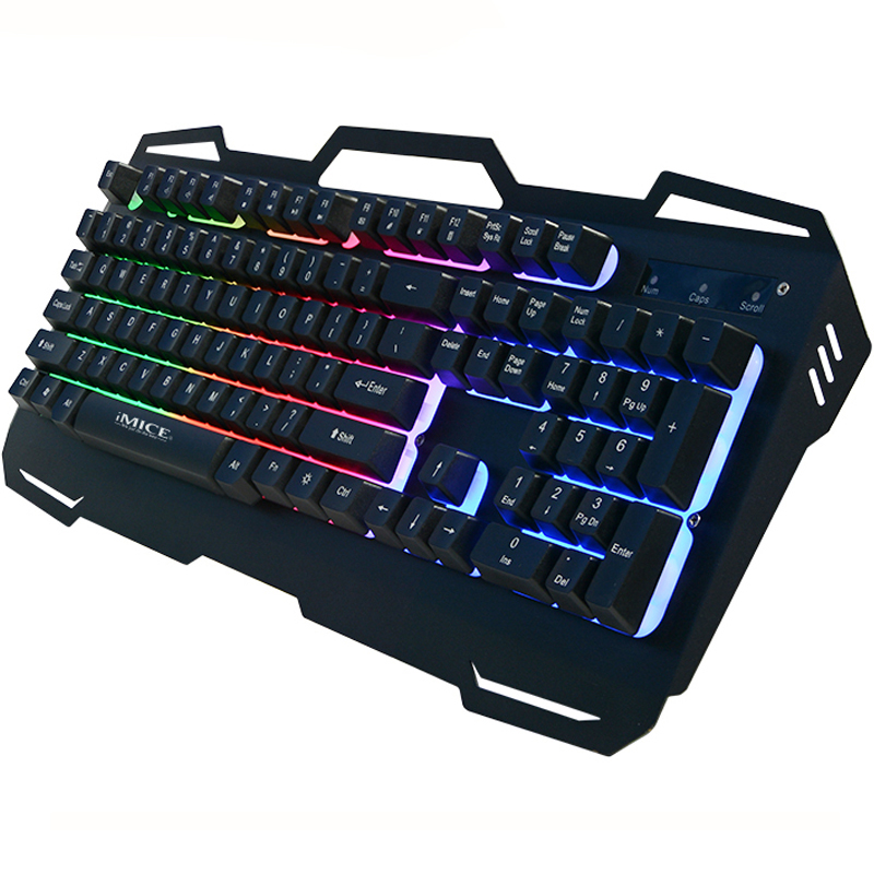 IMice Gaming Keyboard USB проводной Gamer клавиатуры 104 ключей из металла Панель плавающий клавиатура с подсветкой для портативных ПК русский Стикеры