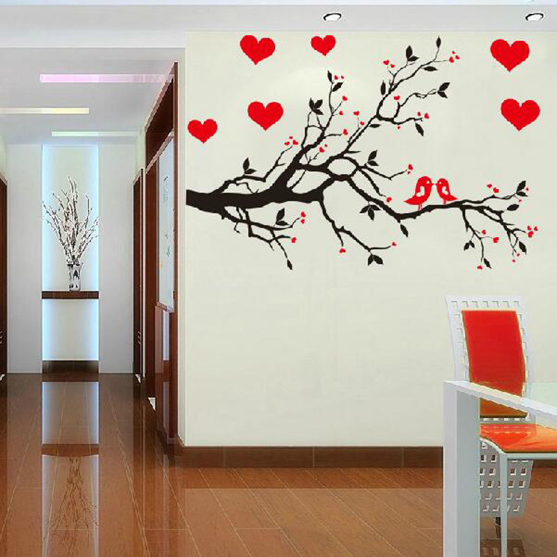 Fashion Red Love Heart Wall Decor Vintage Life Tree Wall Sticker Home Decor Romantic Birds Wall