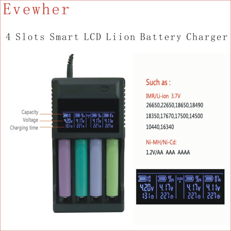 Evewher LCD 18650 Battery Charger 4 Slots Lithium Battery Charger For 26650 18650 14500 AA AAA Charging li ion Batteries Charges 5pcs 5v 1a micro usb 18650 li ion lithium battery charging protection board charger module tp4056 for arduino