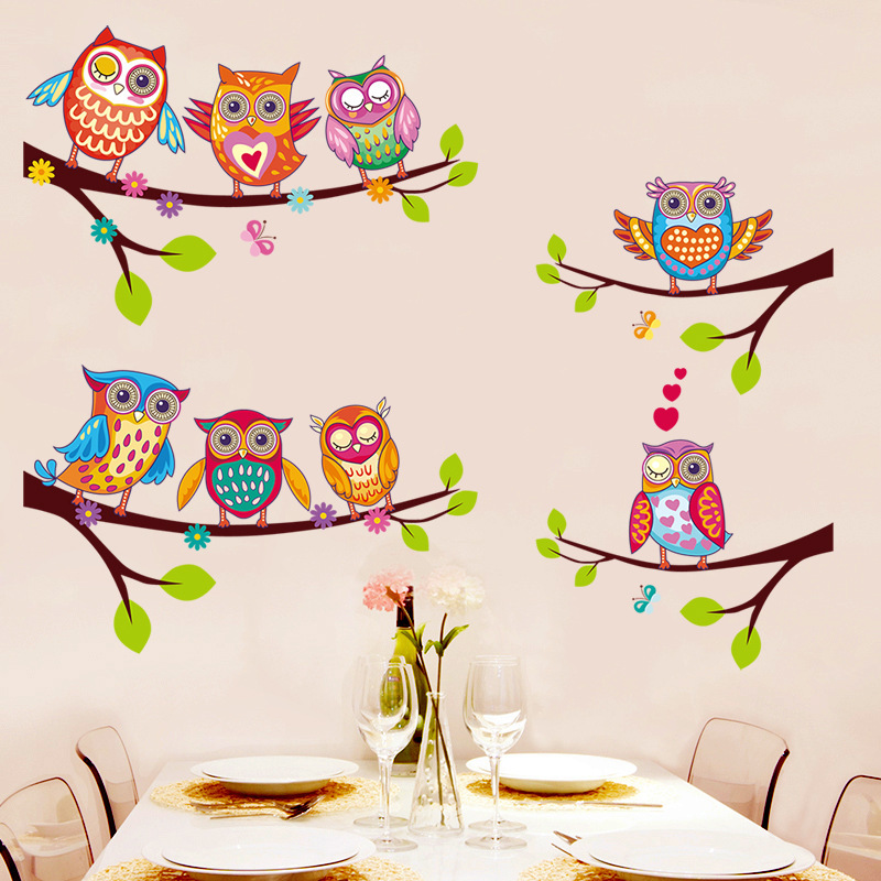 Kids room cute wall sticker owl removable colorful wall - Childrens bedroom wall stickers removable ...