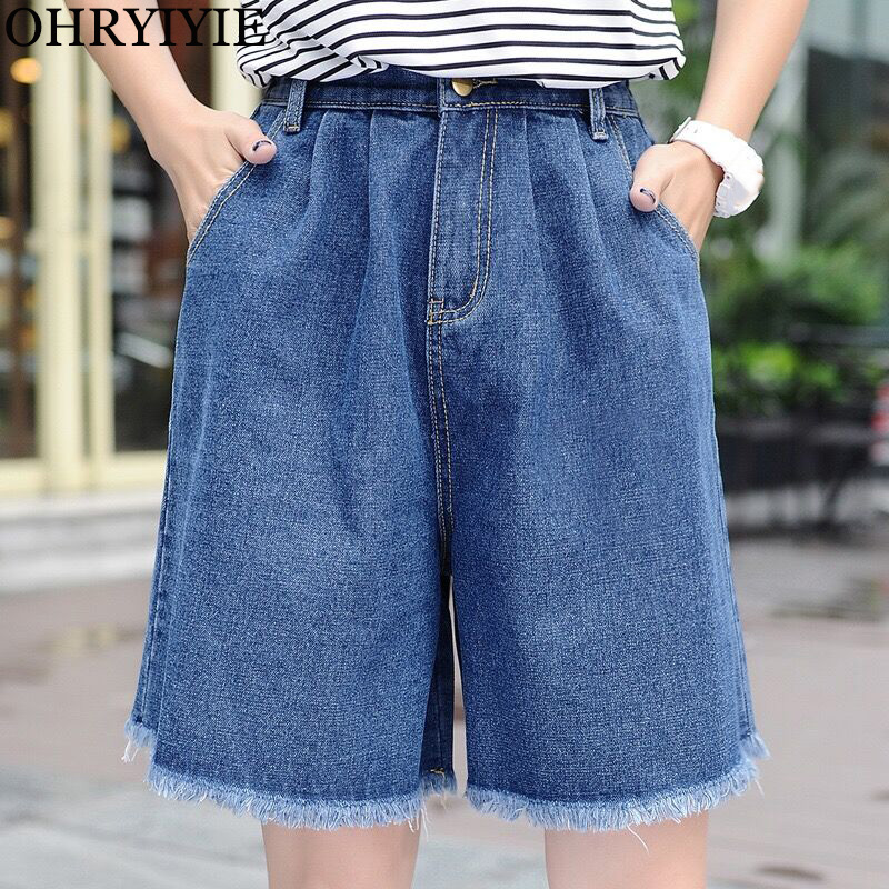 OHRYIYIE Plus Size Blue Summer Denim Shorts For Women Elastic Waist Loose Wide Leg Short Jeans Shorts Women Streetwear Shorts