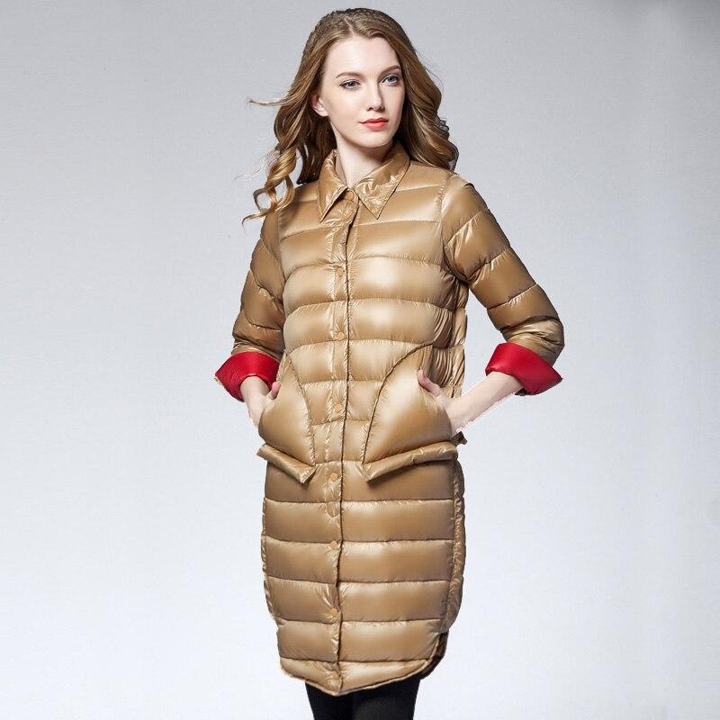 Women Fashion Spring Medium long Parkas Duck Down Jacket Ultra Light Shirt Collar Female Overcoat Jackets