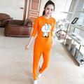 Bonito do outono e inverno versão Coreana do casuais quente Fina era fina-de mangas compridas treino pijamas feminino algodão Fino treino