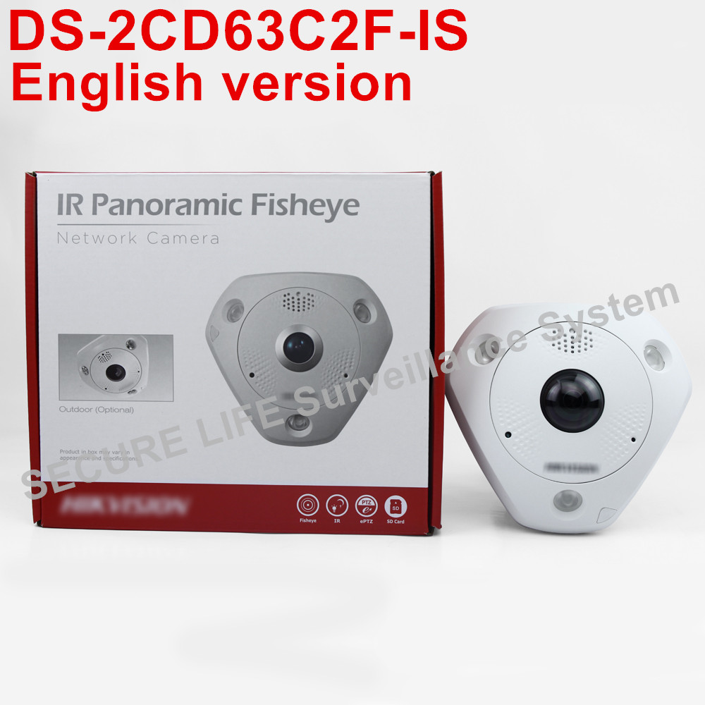 Free shipping DS-2CD63C2F-IS English version12MP Fisheye Network Camera 360 degree view angle ip camera built-in mic speaker in stock international english version ds 2cd2942f is english version 4mp compact fisheye network cctv camera fisheye