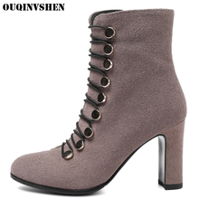 OUQINVSHEN Pointed To Square heel Women's Boots Casual Fashion Zipper Women Ankle Boots Elastic band High Heels Ladies Boots