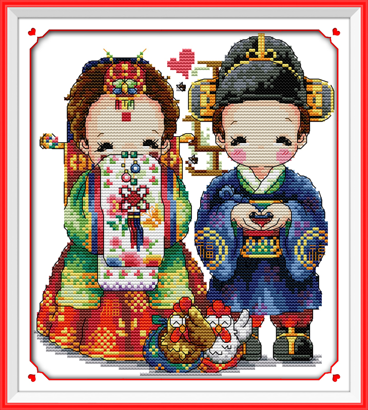 Joy Sunday Cross Stitch Kit 14CT Stamped Embroidery Kits Precise Printed Needlework Christmas Gift 28/×28CM