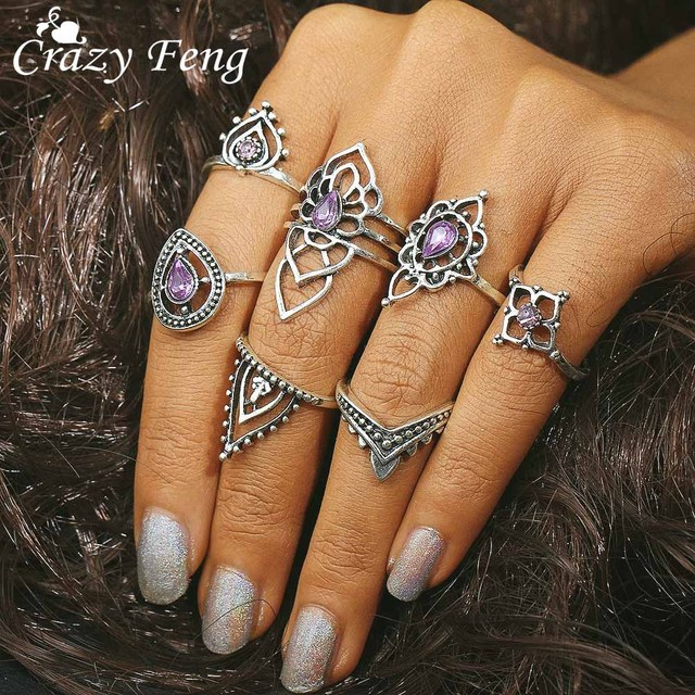 Crazy Feng Retro Elegant Zirconia Crown Ring Sets For Women Boho Jewelry Gift 7p