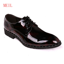 Decent Elegant Patent Leather Elevator Shoes Mens Pointed 2019 Luxury Rivet Formal Dress Men Wedding Zapato Oxfor