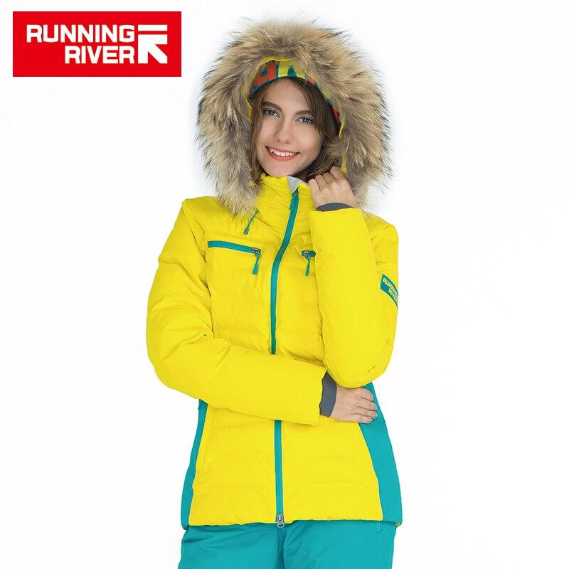 RIVIÈRE qui COULE Marque Hiver Thermique Femmes Ski Vers Le Bas Veste 5 couleurs 5 Tailles de Haute Qualité Chaud Femme Sports de Plein Air Vestes # A6012