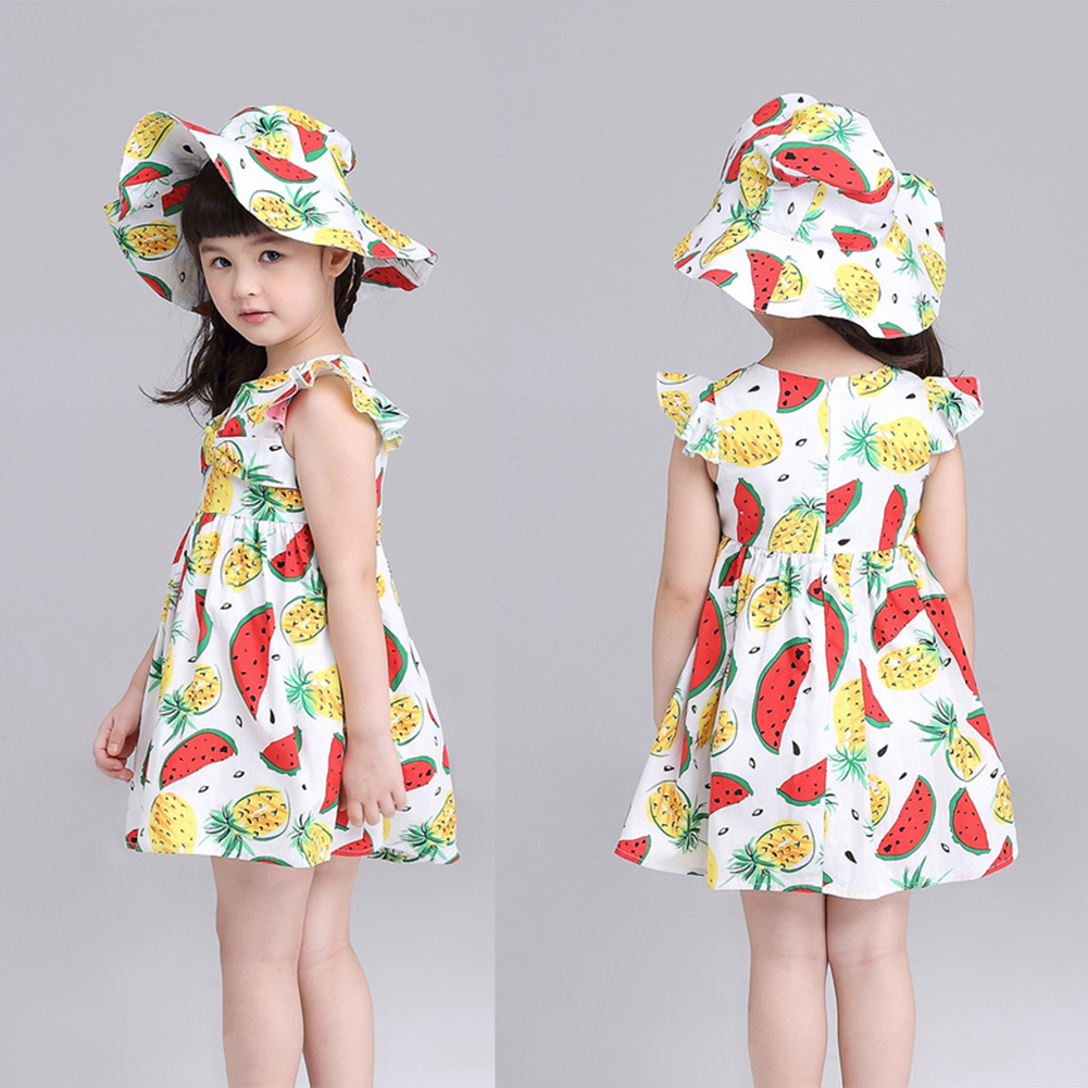 цена на Summer Fruit Print Girls Clothing Dress Summer Girl Cute Sleeveless Watermelon Jackfruit Print Include Hat Dress Fashion Dress