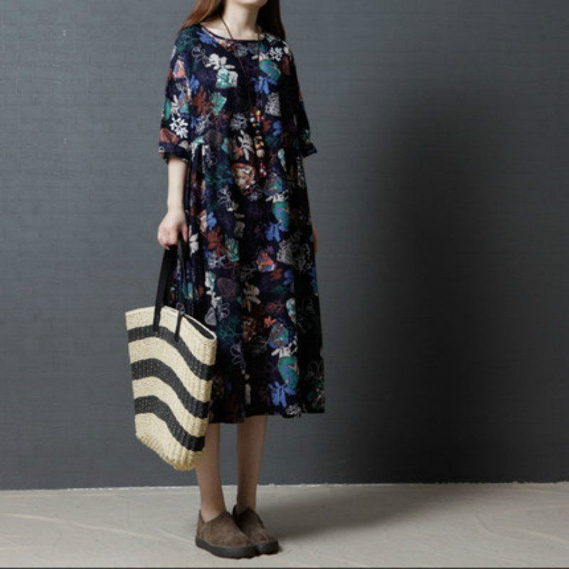 dff4d6fd1437a 2017 New Large Size Dresses Summer Elegant Big Floral Printed Dress for Pregnant  Women Cotton Linen Maternity Clothes CE750