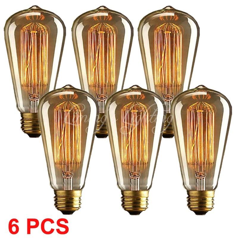 6PCS 1910 ST64 Antique Vintage Edison light Lamp source Bulb Incandescence 220V/110v Radiolight Tungsten Home Decoration for Bar