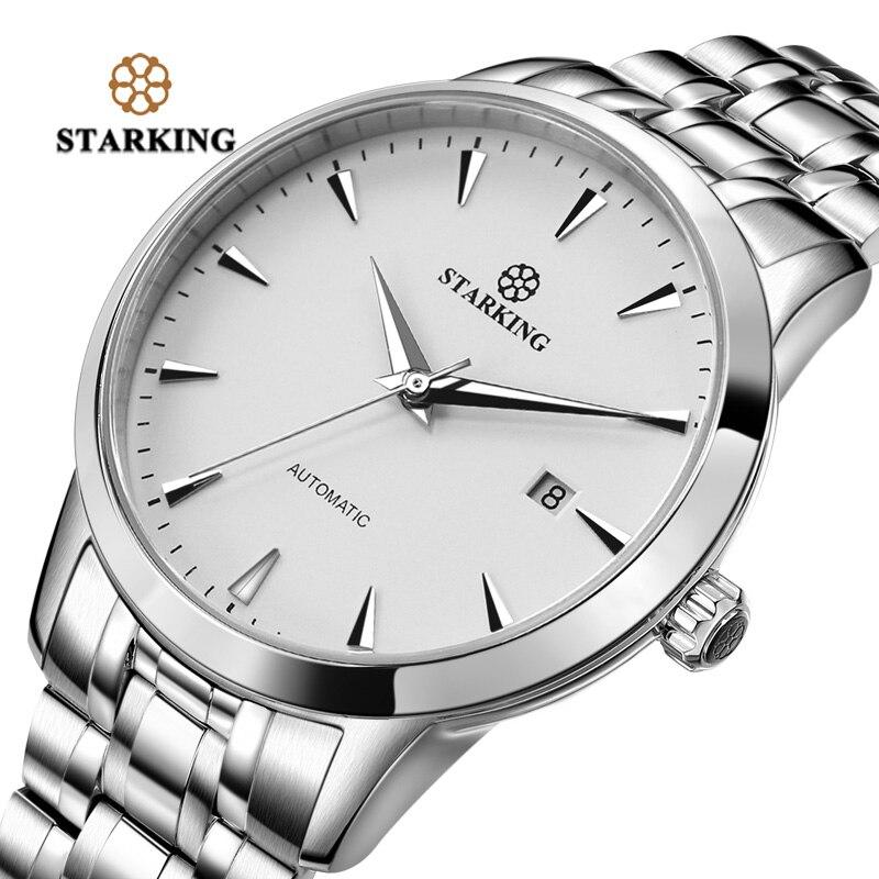 STARKING Mens Horloge Automatique Montre Mécanique Tout En Acier Inoxydable Simple D'affaires Mâle Montre xfcs Marque De Luxe Robe Montre-Bracelet