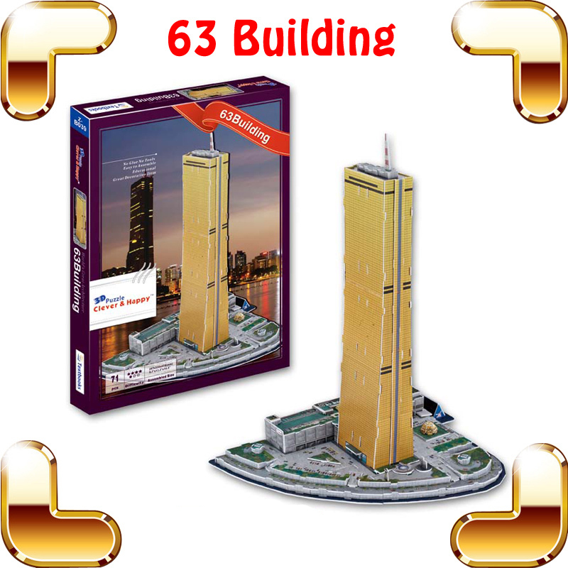 New Year Gift 63 Building 3D Puzzle Model Building Korea Edifice Decoration DIY Toy For Children Learning Smart Puzzle Game