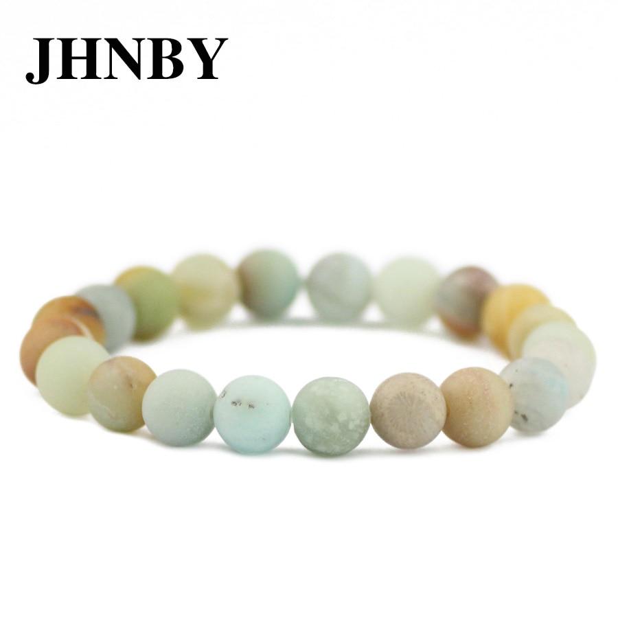 Bracelets & Bangles Intelligent Jhnby Matte Amazonite Stone For Men Women Bracelet&bangle Charm 6/8/10/12mm Beads Braided/elastic Rope Lovers Jewelry Dropship