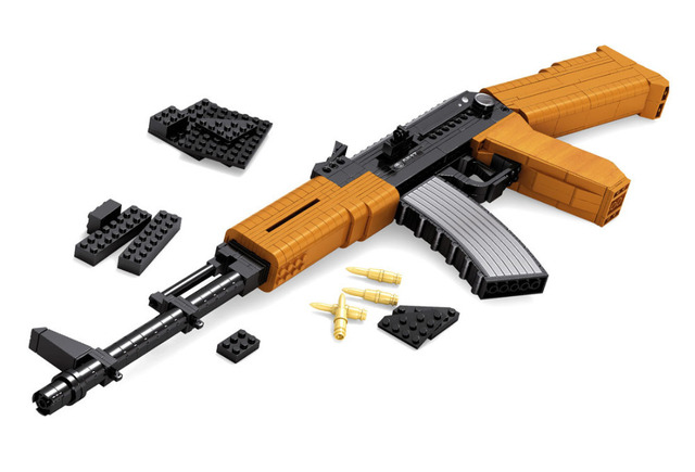AUSINI AK-47 Submachine Assault Rifle GUN Weapon Arms Model 1:1 3D DIY Model Building Blocks Bricks compatiable with brick kid