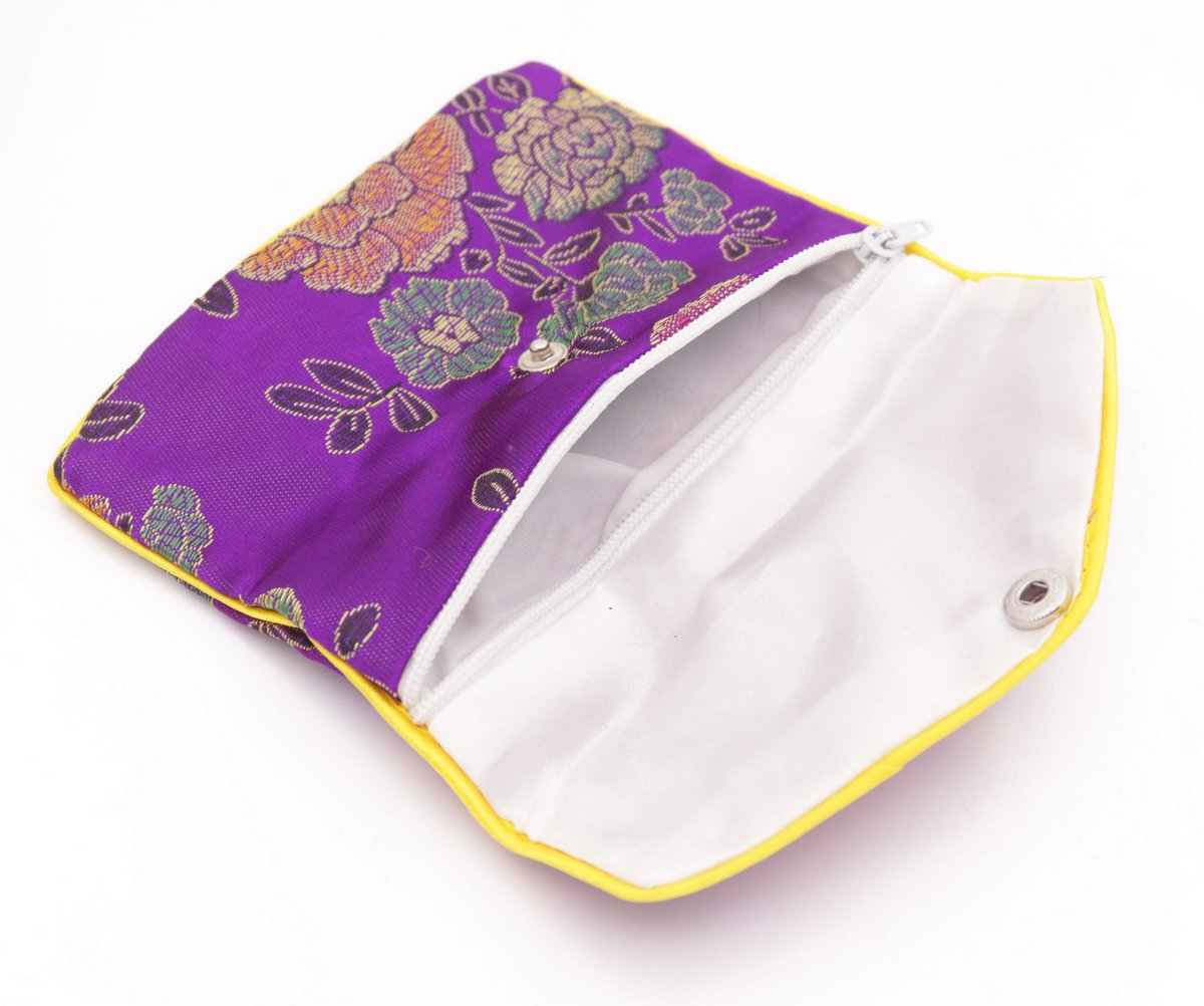 10 pcs purple flower baldachin cloth gift jewelry bags pouches 100mmx120mm