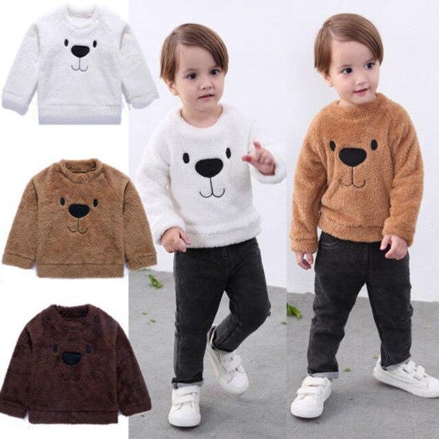 57a2d364b Toddler Kid Baby Boy Sweaters Tops Warm Cartoon Coral Fleece Bear ...