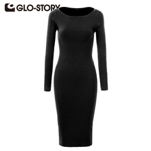 GLO-STORY Women Dress 2016 Autumn Winter Midi Dresses Women Clothing Sexy Bodycon Sweater Dresses WMY-2617